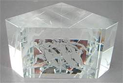 1017 Steuben Signed Marathon Crystal Paperweight prism
