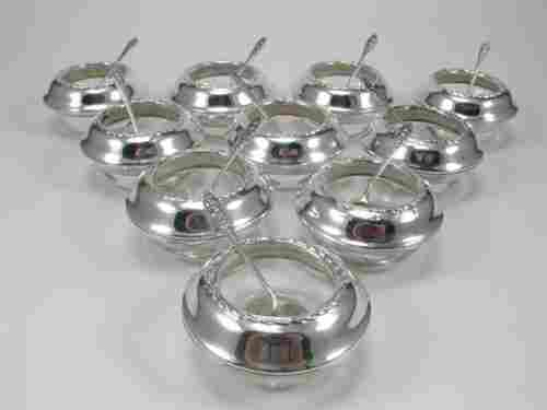 Ten Fine Arts Sterling Silver Rimmed Salt Dips.