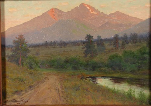 1050: Charles Partridge Adams Signed Oil Painting on Ca
