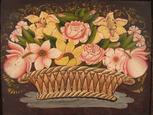 1120: American Folk Art Painting on wood panel. Antique