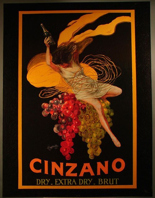 1281: Cinzano Art Nouveau Champagne Advertising Print l