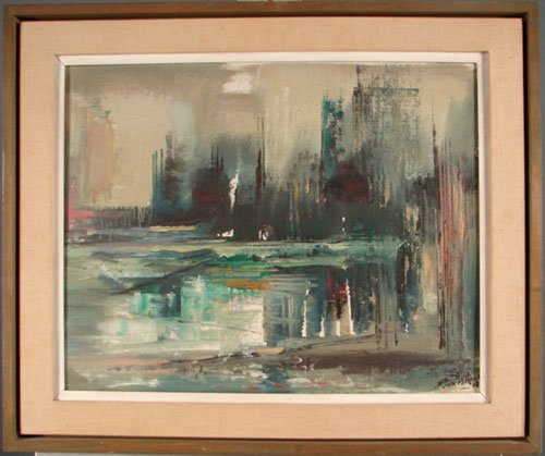 1303: Edward Christiana Signed Oil Painting on artist's - 2