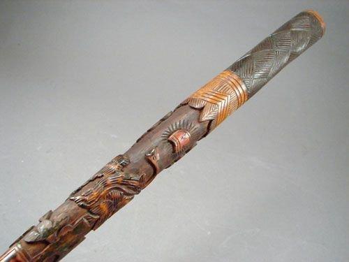 0533: Antique Folk Art Carved Walking Stick Cane.