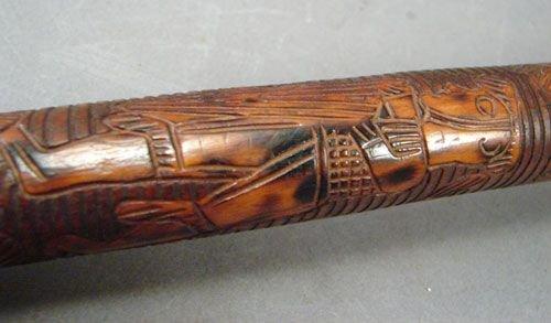 0533: Antique Folk Art Carved Walking Stick Cane.  - 3