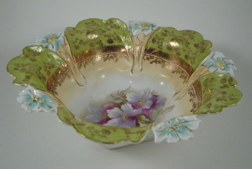 2001: Antique RS Prussia type Porcelain Bowl with blown