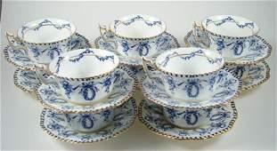 2005 Antique English Coalport Porcelain Tea Cups and S