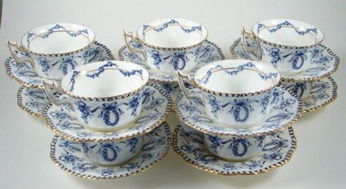 2005: Antique English Coalport Porcelain Tea Cups and S