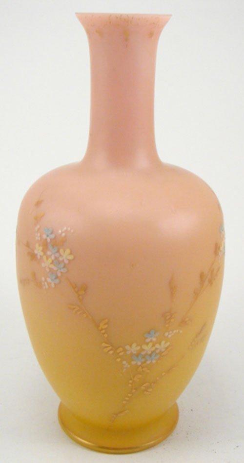 2008: Antique Peach Bloom type Art Glass Vase with sati