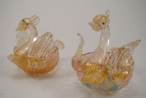 2011: Venetian Handmade Art Glass Pair of Figural Swan