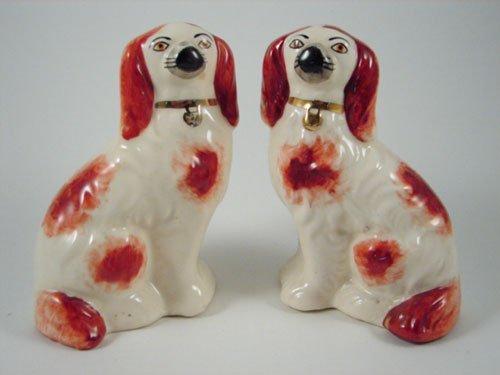 2020: Antique Staffordshire Spaniel Dog Figures. 19th c