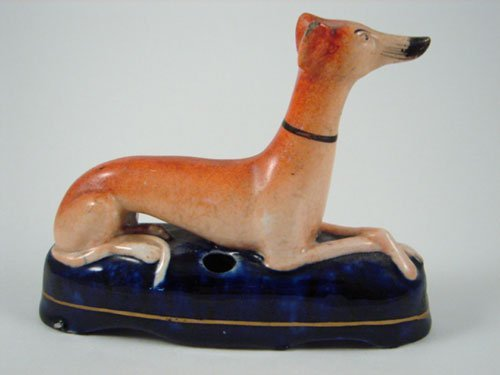 2021: Antique Staffordshire Whippet Dog Ink Well. Minor