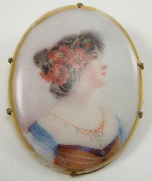 500: Victorian Hand Painted Porcelain Portrait Pin. Fea