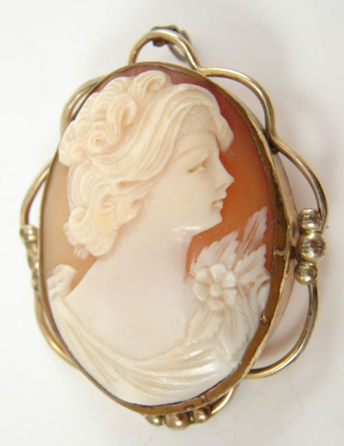 501: Hand Carved Shell Cameo featuring portrait of a wo