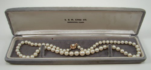503: Strand of Graduated Pearls Estate Jewelry with 14k