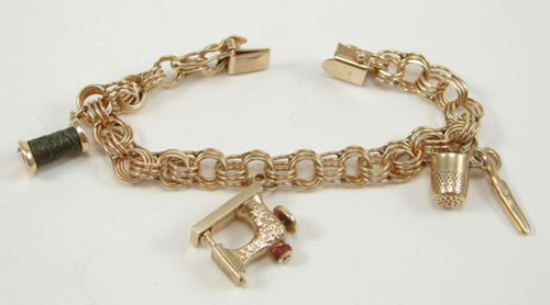 504: 14k Yellow Gold Sewing Theme Charm Bracelet Estate