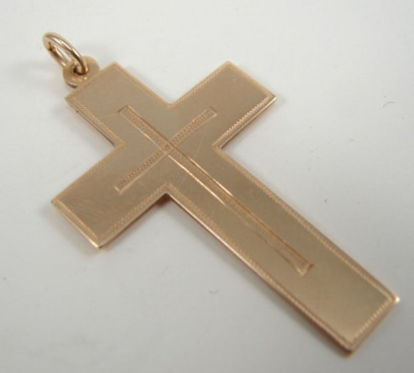 "506: 14k Yellow Gold Cross Pendant. Marked ""585"". 1 1/2"