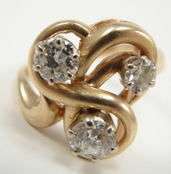 510: Diamond & 14k Yellow Gold Lady's Ring Estate Jewel