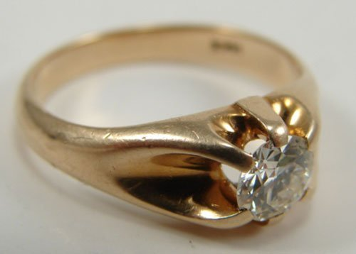 512: Solitaire Diamond & 14k Yellow Gold Men's Ring. Ri