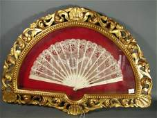 1099B: Antique Lace & Ivory Lady's Fan with hand painte