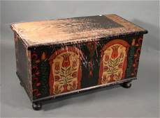 1156: Antique American Painted Pine Blanket Box. Pennsy