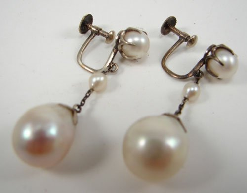 0516B: Pair of Vintage Pearl Drop Earrings with 14k Yel