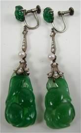 0519B: Pair of Green Jade & Pearl Drop Earrings with 9k