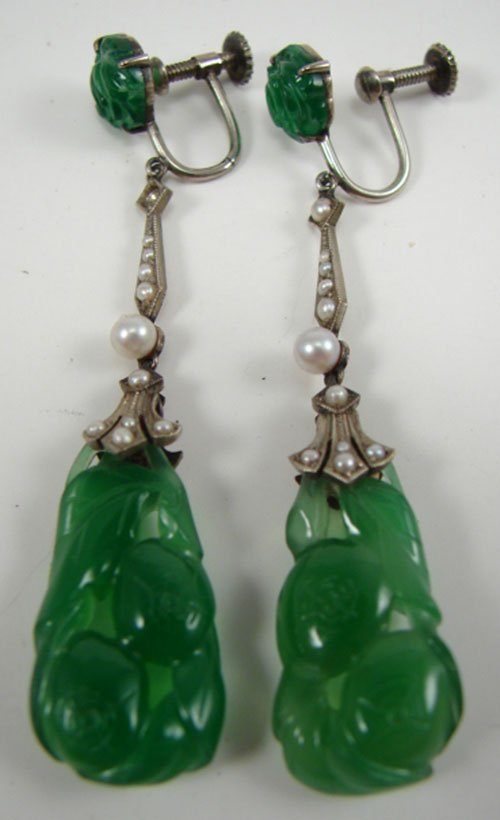 0519B: Pair of Green Jade & Pearl Drop Earrings with 9k
