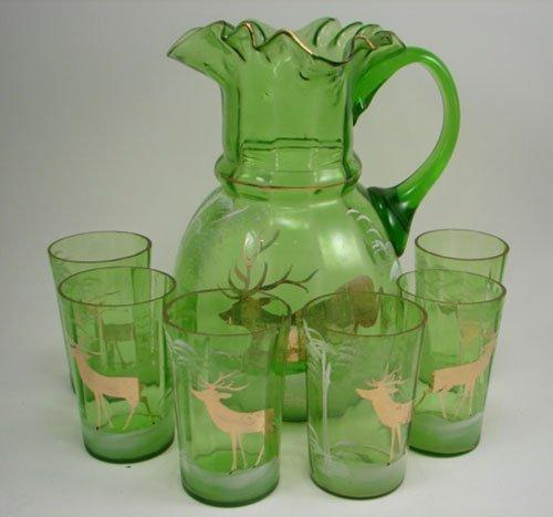 3002: Victorian Green Glass Lemonade Set with white ena