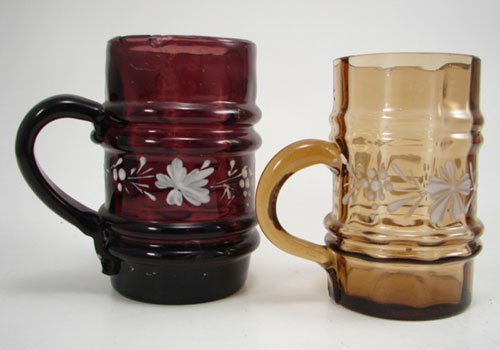 3005: Two Victorian Blown Colored Glass Cups with appli