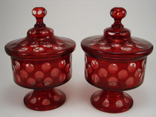 3010: Two Antique Ruby Cased Glass Jars with thumbprint