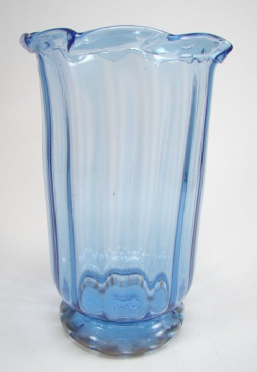 3012: Hand Blown Blue Glass Vase with lipped rim and br