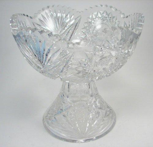 3013: American Brilliant Period 2pc Cut Glass Punch Bow