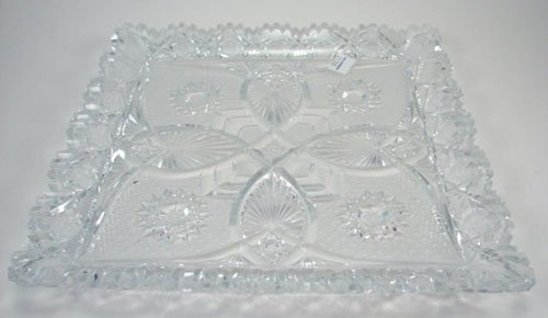 3014: Fine Cut Glass Square Ice Cream Tray. Maker unkno