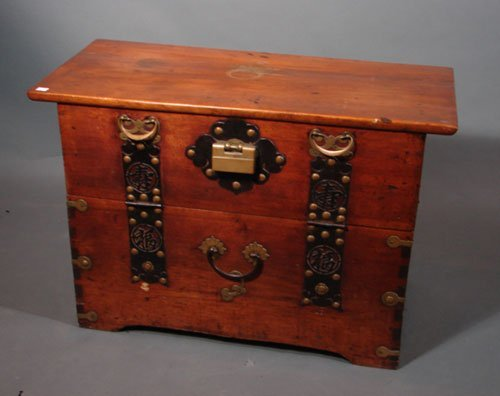 3015: 18th / 19th c. Dovetailed Wooden Chest with iron