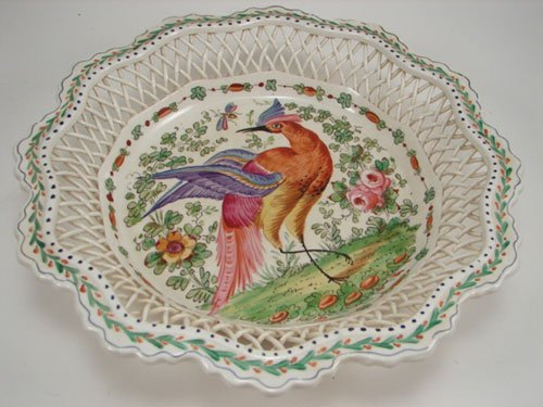 3018: Early Chelsea English Hand Painted Bowl with bask