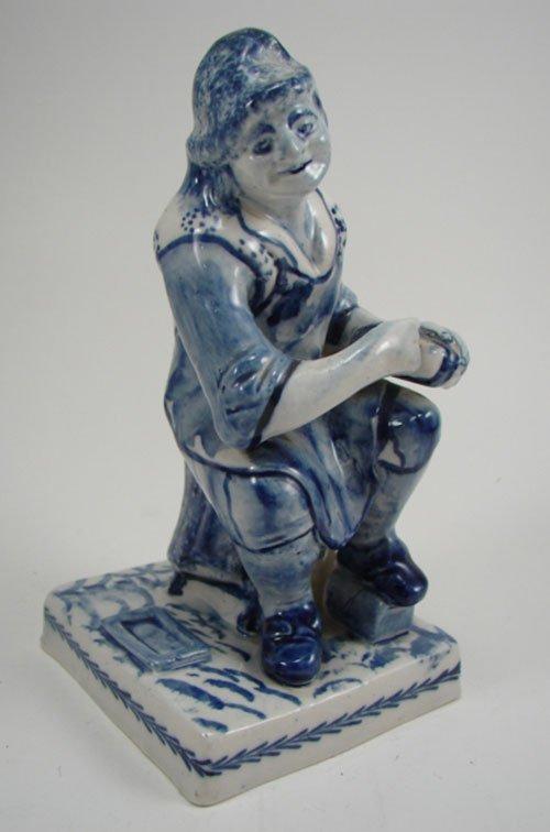 3019: 18th / 19th c. Blue & White Ceramic Figure of Sea