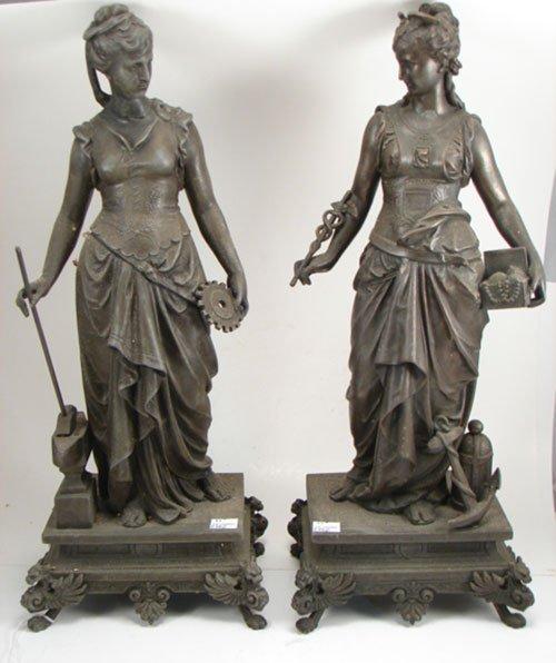 3023: Pair of Antique Cast White Metal Figures of women