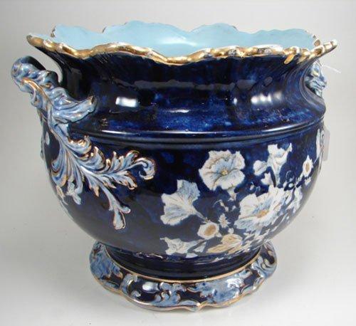 "3024: ""Eturia"" Marked Porcelain Planter with cobalt gro"
