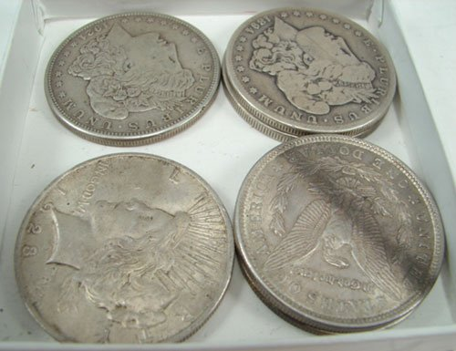 203: Six Silver dollars (4 Morgan and 2 Peace) G/XF