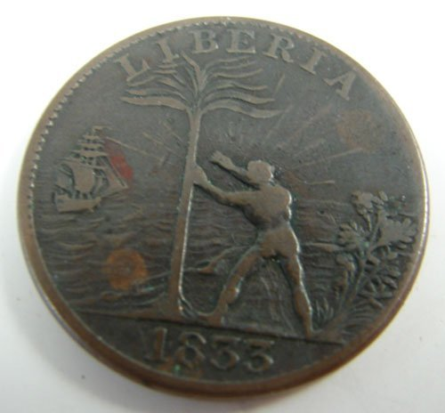 206: 1833 Liberia one cent F/VF