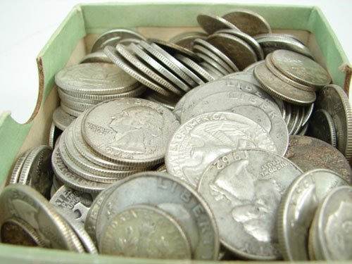 214: $42 Washington quarters and Roosevelt dimes 90%