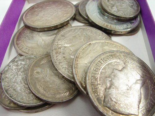216: Latvia silver coin lot (9 five Lati 1929-1930 VF/X