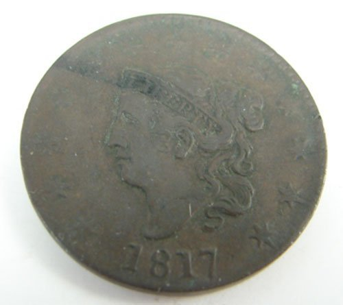 218: 1817 Large Cent VF/XF nice deep brown chocolate