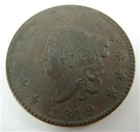 219: 1819 Large Cent AU/BU dark brown