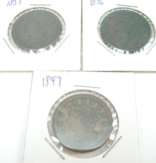 220: Three Large Cents: 1836, 47, 51 all are F/VF
