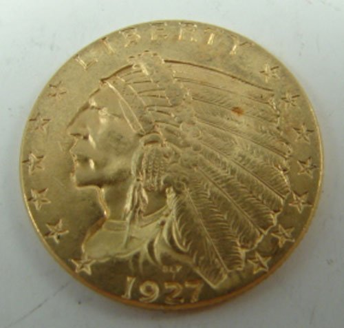 344: 1927 $2 1/2 Indian Head gold AU