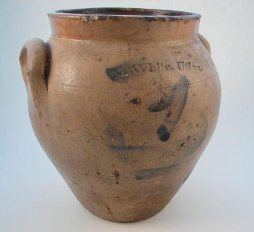 1003: N. White Utica Early Stoneware One Gallon Crock.