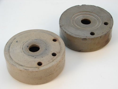 1015: Two antique Stoneware Ink Wells. Maker unknown. O