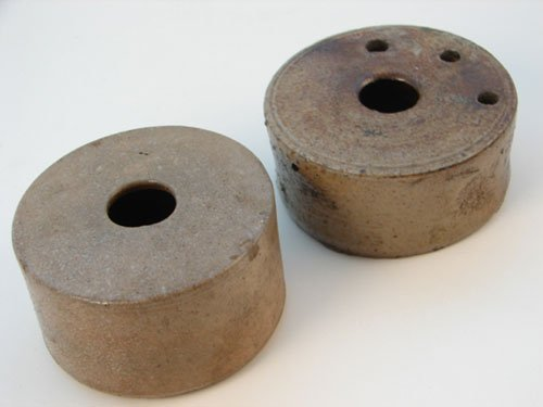 1016: Two Antique Stoneware Inkwells. maker unknown. Go
