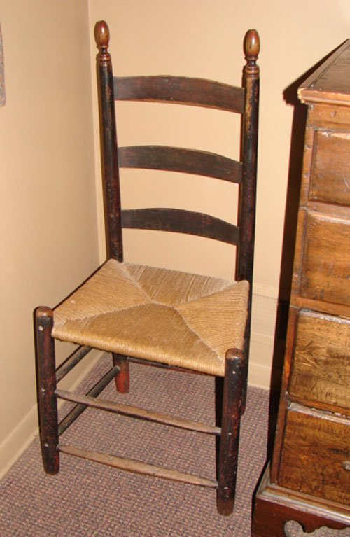 1019: Antique Ladderback Chair in early surface, probab